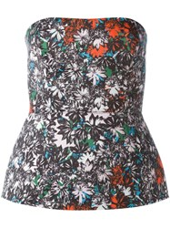 Cedric Charlier Floral Print Strapless Bustier Top Multicolour