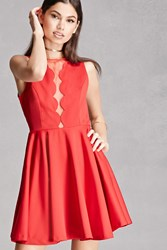 Forever 21 Scalloped Mesh Panel Dress Red