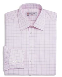 Turnbull And Asser Puppytooth With Grid Classic Fit Dress Shirt Pink