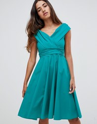 Closet London Wrap Over Skater Dress Green