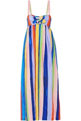 Mara Hoffman Tie Front Striped Organic Linen Maxi Dress Blue