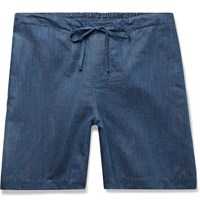 Zimmerli Slub Linen And Cotton Blend Drawstring Pyjama Shorts Blue