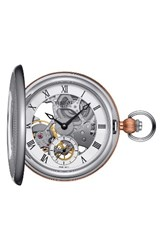 Tissot Men's Bridgeport Mechanical Pocket Watch 47Mm Silver Rose Gold