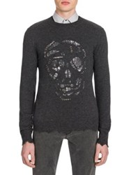 Alexander Mcqueen Metallic Detailed Skull Sweater Grey