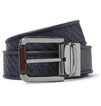 Ermenegildo Zegna 3.5Cm Blue Reversible Pelle Tessuta Leather Belt Blue