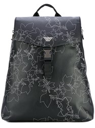 Emporio Armani Embroidered Backpack Men Polyamide Polyester Polyurethane One Size Black