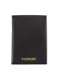 Neiman Marcus Leather Passport Holder Black