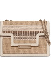 Aerin Beauty Leather Trimmed Striped Straw Shoulder Bag Beige