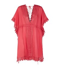 Charo Ruiz Short Embroidered Kaftan Female Orange