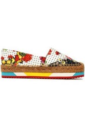 Dolce And Gabbana Printed Woven Espadrilles White