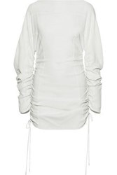 Thierry Mugler Woman Ruched Stretch Cady Top Off White Off White
