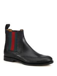 Gucci Strand Wingtip Leather Boots Black