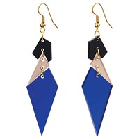 Toolally Abstract Diamond Shaped Drop Earrings Sapphire Multi