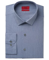 Alfani Men's Fitted Performance Indigo Blue Hairline Stripe Dress Shirt Only At Macy's