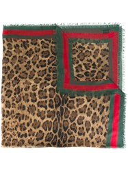 Gucci Leopard Print Scarf With Web Nude Neutrals