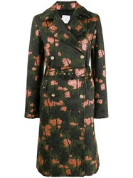 Stella Jean Palm Tree Print Coat Green