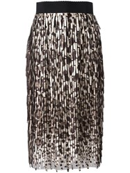 Dolce And Gabbana Leopard Print Midi Skirt Brown