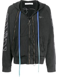 Off White Abstract Arrows Zipped Hooded Sweater Black