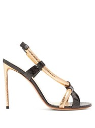 Francesco Russo Rolled Strap Ayers Stiletto Sandals Black Gold