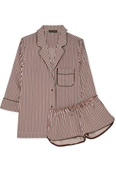 Love Stories Jude L And Audrey H Striped Satin Pajama Set Beige