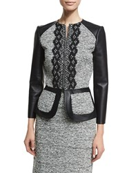 Oscar De La Renta 3 4 Sleeve Zip Front Leather Tweed Peplum Jacket Black Ivory Women's