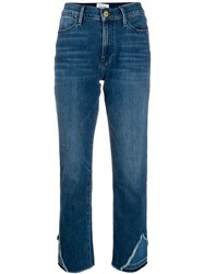 Frame Distressed Ankle Jeans Blue