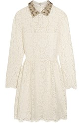 Valentino Star Collar Stretch Lace Mini Dress Ivory