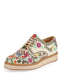 Sergio Rossi Embroidered Canvas Espadrille Sneaker White Size 37.5B 7.5B