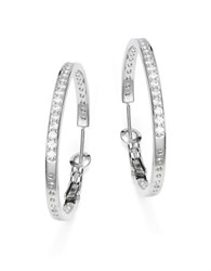 Crislu Cubic Zirconia And Sterling Silver Hoop Earrings 1.25 In