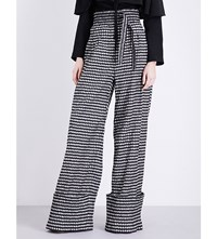 Rosie Assoulin Gingham Print High Rise Woven Trousers Black White