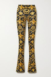 Versace Printed Stretch Jersey Flared Pants Black