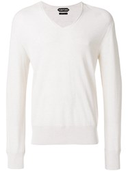 Tom Ford Fine Knit V Neck Sweater Nude And Neutrals