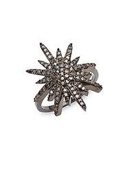 Adornia Starburst Diamond Ring Silver