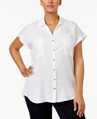 Style And Co Plus Size Short Sleeve Denim Shirt Only At Macy's Bright White