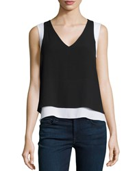 Bcbgmaxazria Briar Sleeveless Illusion Top Black White Black Combo