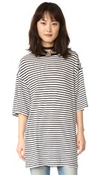 R 13 Oversized Striped Boyfriend Tee White W Black