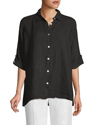 Saks Fifth Avenue Linen Three Quarter Sleeve Button Down Black