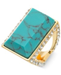 Guess Gold Tone Blue Stone And Crystal Statement Ring