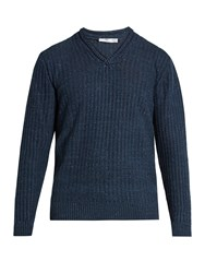 Inis Meain V Neck Linen And Silk Blend Sweater Navy Multi