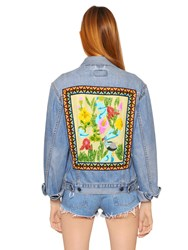 Forte Couture Cotton Denim Jacket W Embroidered Back