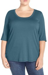 Sejour Plus Size Women's Elbow Sleeve Scoop Neck Tee Blue Wing