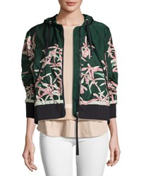 Moncler Comte Hooded Floral Lightweight Jacket Dark Green