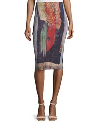 Donna Karan Printed Pencil Skirt Multi Colors Women's