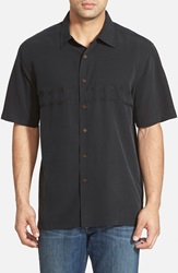 Quiksilver 'Tahiti Palms' Regular Fit Short Sleeve Sport Shirt Black
