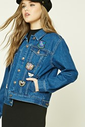 Forever 21 Patch Graphic Denim Jacket