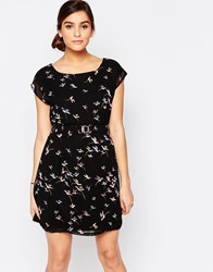Pussycat London Shift Dress In Bird Print Black
