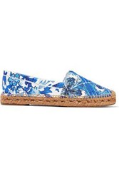 Dolce And Gabbana Printed Jacquard Espadrilles Blue