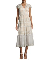 Catherine Deane Cap Sleeve Tiered Lace Midi Dress Silver