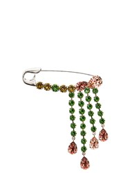 Sonia Rykiel Crystal Embellished Safety Pin Brooch Multi