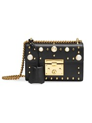Gucci Padlock Studded Leather Shoulder Bag Women Leather Brass One Size Black